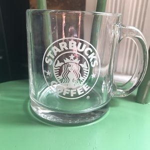Starbucks coffee mug clear etched glass 12 oz